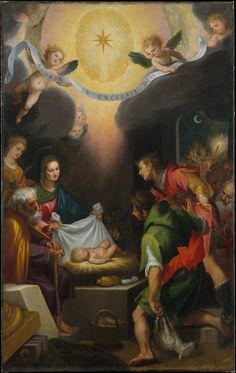The Adoration of the Shepherds with Saint Catherine of Alexandria // 1599 // Cigoli (Ludovico Cardi) // Cigoli,a painter of considerable intellectual accomplishment & a friend of the great scientist & astronomer Galileo Galilei (1564–1642),was the key artist in Florence in the late 16th century. This altarpiece was painted at the height of Cigoli's career & introduced to Florentine painting a new emotional warmth & emphasis on color,based on the work of of Barocci / Titian