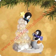 2002 Topping The Tree Hallmark Ornament at Ornament Mall Jamie Penguin Ornaments, Hallmark Christmas Ornaments, Hallmark Keepsake Ornaments, Christmas Crafts, Christmas Decorations, Polymer Clay Ornaments, Polymer Clay Christmas, Biscuit, Cold Porcelain