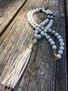 Gold Tassel Pendant Necklace Tassel Necklace Beaded