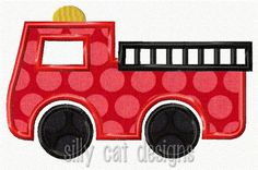 Fire Truck Applique Design by SillyCatDesigns on Etsy