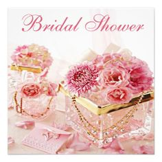 bridal shower invitations gold pink | Glamour Jewels, Pink Flowers & Boxes Bridal Shower Custom ...