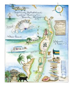 Abaco Islands, Bahamas, a favorite place to illustrate for me because the water always looks so nice rendered in water color paints. These folks had a reunion of sorts. I llustrated their terrifying ferry ride across, a cat they fell in love with, a stack of cups they enjoyed the contents of at FireFlys, a family member passed out on the back of a golf cart and more! Custom Map Art By Melissa Smith