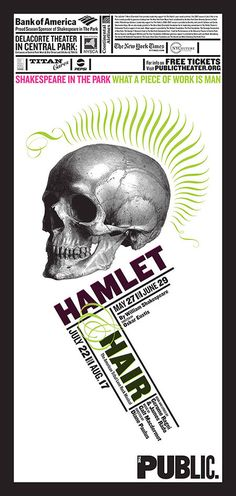 "Paula Scher posters for The Public Theater ""Hamlet"" and ""Hair"" The Public Theater on Behance"
