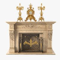 fireplace clock candlabra 3d model