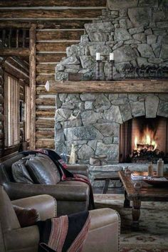 Top 70 Best Stone Fireplace Design Ideas - Rustic Rock Interiors Stone Fireplace Designs, Stone Fireplace Mantel, Stacked Stone Fireplaces, Simple Fireplace, Fireplace Ideas, Country Fireplace, Outdoor Fireplaces, Log Cabin Designs, Wall Mount Electric Fireplace