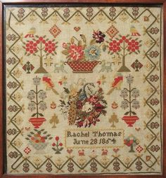 I have chosen this sampler by Rachel Thomas as an example of how things changed in the world of Welsh samplers around 1850 - Note the. Crewel Embroidery Kits, Hungarian Embroidery, Cross Stitch Embroidery, Embroidery Patterns, Cross Stitch Patterns, Cross Stitch Samplers, Embroidery Techniques, Couture, Needlework