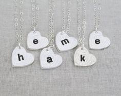 6 Sideways Initial Heart Necklaces, Custom Bridesmaid Gift, Personalized Bridesmaid Heart Necklace Set of 6, Rustic