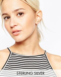 ASOS+Gold+Plated+Sterling+Silver+Open+Circles+Ear+Crawler