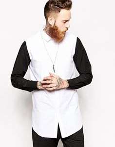 ASOS Smart Shirt In Longline With Contrast Sleeves
