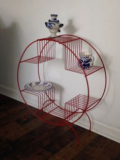 Mid Century Wire Plant Stand- Spray Painted in gloss red