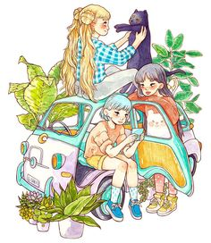 """My second piece for #moonprismpowerSF show at @thegalallery called """"Nursery"""" I always wanted to draw Sailor Scouts as regular teenagers, the most favorite part of watching this anime for me was spying cute 90s outfits! ⭐️✨ #sailormoon #usagi #usagitsukino #sailorscout #fiat600 #fiat #plants #succulents #watercolor #moonprismpower #art #illustration #artistsoninstagram"""