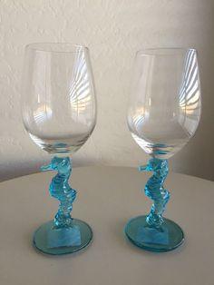 Cynthia Rowley Wine Glass Clear Tropical School Of Fish Set Of 4 Coastal Pretty Summer Dishes