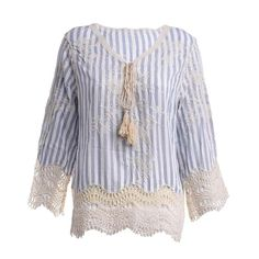 BLOUSE IN BLUE/WHITE COLOR WITH STRIPES AND EMBROIDERY