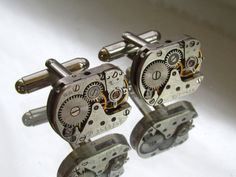 Steampunk Jewelry,Steampunk Mens rectangular  Watch Cufflinks  Fathers Day Wedding Anniversary  Vintage upcycled mens Cuff Links, $26.00
