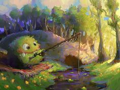 """Fishing"" by *MarcoBucci on deviantART (DAT FACE. Hee!)"
