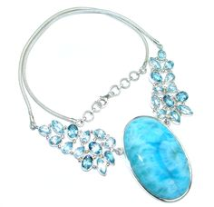 $365.25 Natural+AAA++Blue+Larimar+Swiss+Blue++Topaz+Sterling+Silver+handmade+necklace at www.SilverRushStyle.com #necklace #handmade #jewelry #silver #larimar