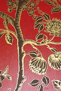 Extraordinary red/gold indoor wallcovering by Cole