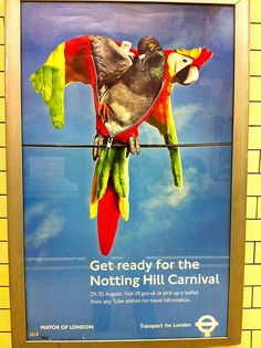 Pigeon changing into parrot outfit for Notting Hill Carnival - TfL poster