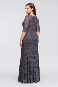 You will radiate pure elegance in this beautiful lace dress perfect for any Mother of the Bride dress!  All over glitter lace dress with 3/4 sleeves features a scalloped boatneck and an illusion sweetheart neckline.  Floor length mermaid silhouette is flattering and chic.  Designed by Nightway.  Fully lined. Back zip. 55% Nylon, 40% Polyester, 5% Spandex.  Hand wash cold gently inside out, no bleach. Do not wring or twist, lay flat to dry. No iron. Do not dry clean.Also available in Missy