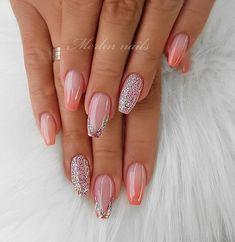 Elegant Rhinestones Coffin Nails Designs - New Ideas Sexy Nail Art, Sexy Nails, Pretty Nail Art, Fun Nails, Elegant Nails, Stylish Nails, Crome Nails, Feather Nails, Nails Only