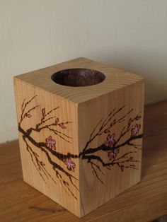 Cherry blossom tea light holder,wood tealight holder,floral tealight holder,cherry blossom,pyrography tealight holder,wood candle holder by BohemianBlessed on Etsy https://www.etsy.com/uk/listing/271995794/cherry-blossom-tea-light-holderwood