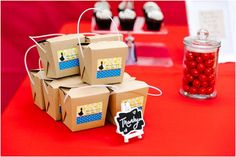 Favor boxes from Crimson Red Snow White Birthday Party at Kara's Party Ideas. See this party and more at karaspartyideas.com!