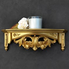 Gold Wall Shelf - Floral Rose Ornate - Vintage Homco by TheCherryAttic on Etsy