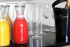 Mimosa Bar: orange-pineapple juice, fresh peach nectar, and strawberry lemonade as mixers.