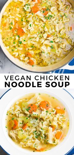 This Vegan Chicken Noodle Soup is just like the classic soup you grew up eating. Cozy, comforting and it tastes incredible! This Vegan Chicken Noodle Soup is just like the classic soup you grew up eating. Cozy, comforting and it tastes incredible! Vegan Dinner Recipes, Vegan Dinners, Whole Food Recipes, Healthy Recipes, Vegan Recipes Instant Pot, Ramen Recipes, Hamburger Recipes, Vegan Chicken Noodle Soup, Chicken Noodles
