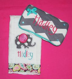 Chevron Elephant burp cloth and diaper wipe by SoSewSimplySweet, $25.00