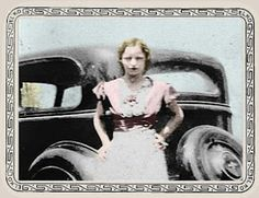 "colorized photo of the lovely Bonnie Parker. Ted Hinton said that ""pictures never did her any justice."""