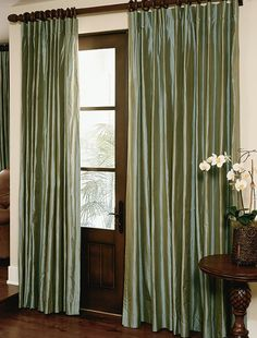 How long should my drapes be? The length of your custom drapes can make all the difference. Let DrapeStyle help you determine what is best for your room. Silk Drapes, Drapes And Blinds, Drapes Curtains, Shades Blinds, Curtains Living, House Shutters, House Windows, Window Coverings, Window Treatments