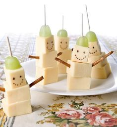 fun food easy cheese and grape snowman snack