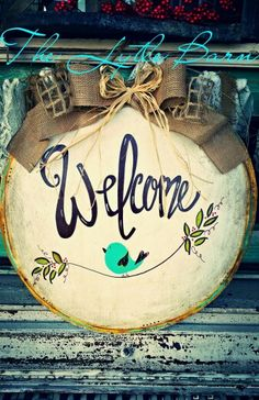 Welcome door hanger. Handpainted