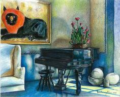 """Saatchi Online Artist daniel levy; Drawing, """"lion and piano"""" #art"""