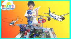 Fast Lane Multi Level Airport Playset Disney Cars Toys for kids Lightning McQueen Ryan ToysReview - YouTube