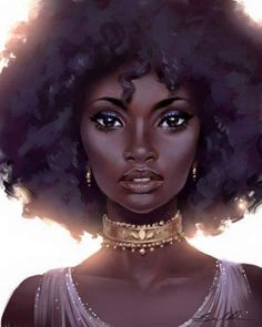 Afro Girl- she looks like a queen. Black Girl Art, Black Women Art, Black Girls Rock, Art Girl, African American Art, African Art, Native American Indians, African Beauty, Natural Hair Art
