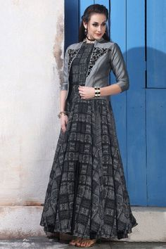 Chanderi And Cotton Embroidered Anarkali Gown - DMV12541 #anarkali #cotton #gowns #onlineshopping #fullsleeve #dresses #embroidered