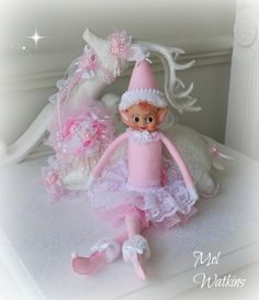 Vintage elf made Pink :) <3 Reindeer from Olivia's Romantic Home xo