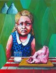 "Goldilocks (#1 of 3)  This One's Too Fleshy  14""x18""  acrylic on canvas"