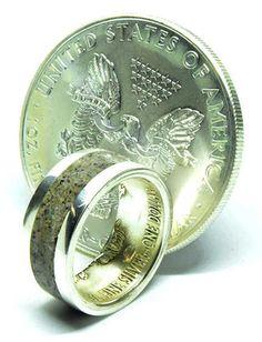American silver eagle coin ring with Irish deer antler inlay Deer Antler Wedding Band, Deer Antler Ring, Deer Antlers, Silver Eagle Coins, Silver Eagles, Engagement Ring For Him, Coin Ring, Wedding Bands, Irish