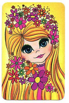 60s swap card flower girl