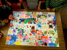 Class puzzle, draw puzzle shape pieces on butcher paper, cut and give home for family to work on at home