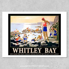 Print of London and North Eastern Railway Whitley Bay poster Vintage Travel Posters, Retro Posters, Railway Posters, Icon Design, Poster Prints, England, Retro Print, The Incredibles, Colour Palettes