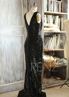 2015 Long Black Bridesmaid dress Sleeveless Luxury by RenzRags