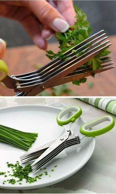 Multi-layer scissors is a good helper of kitchen to shear food, which can be used to cut scallions, cut noodles, kelp, cut seaweed, etc