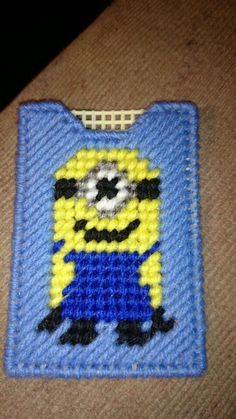 Plastic canvas minion gift card holder