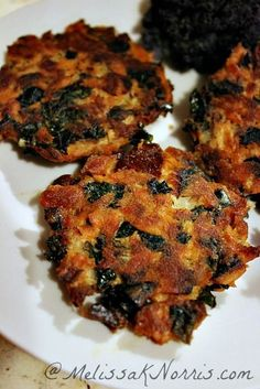 Kale and Salmon Cakes: 1 cup finely chopped kale ¾ cup water 1 pint canned salmon (or 2 six ounce drained canned salmon from the store) 2 Tablespoons finely chopped onion 1 clove minced garlic 1 teaspoon basil 1 egg (farm fresh if best) 1 Tablespoon Dijon mustard