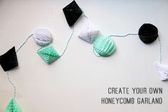Jessica shares a fun how to make a fun Honeycomb Garland! Perfect for any party or gathering! Enjoy! -Linda          Everyone loves honeycomb balls! Did you know you can create your own honeycomb shapes? All you need is some honeycomb paper, a pair o