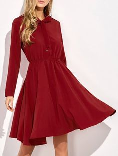 Long Sleeve Bowknot A-Line Dress - RED M Mobile